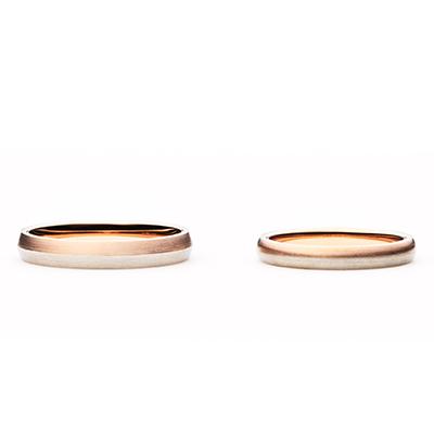 zuccotto 結婚指輪 シンプル キュート ストレート プラチナ ピンクゴールド コンビ