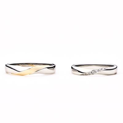 gelato 結婚指輪 エレガント S字(ウェーブ) プラチナ イエローゴールド コンビ