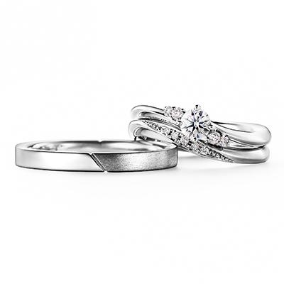 Caph 婚約指輪 結婚指輪 セットリング シンプル エレガント S字(ウェーブ) プラチナ