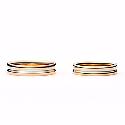 canelé 結婚指輪 エレガント 個性派 ストレート 幅広 ピンクゴールド コンビ