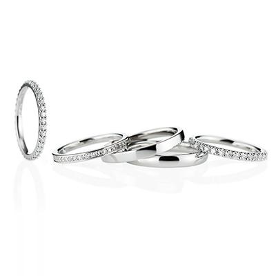Tear Drop 結婚指輪 エレガント ストレート エタニティ プラチナ