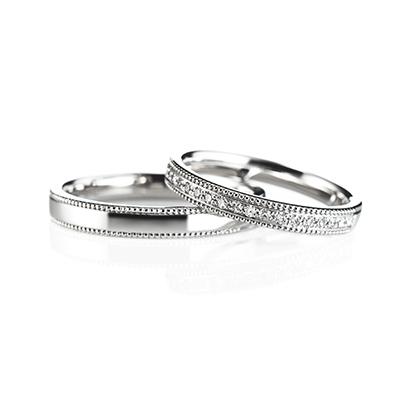 Grow 婚約指輪 結婚指輪 エレガント アンティーク ストレート エタニティ プラチナ