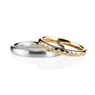 Crystal 結婚指輪 エレガント アンティーク ストレート エタニティ プラチナ イエローゴールド