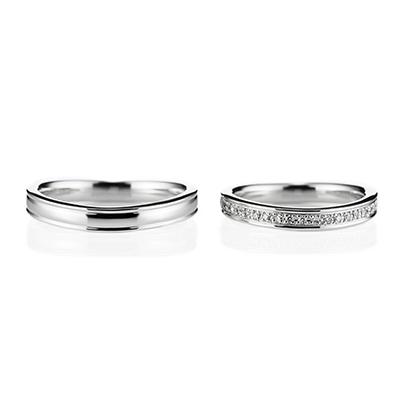 Smiling 結婚指輪 シンプル エレガント V字(ウェーブ) エタニティ プラチナ