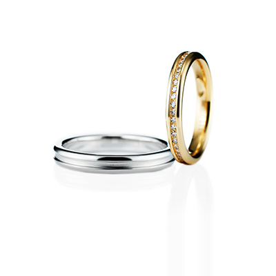 Step 結婚指輪 エレガント ストレート エタニティ プラチナ イエローゴールド