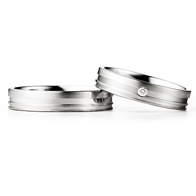 FISCHER 結婚指輪 シンプル エレガント ストレート ホワイトゴールド