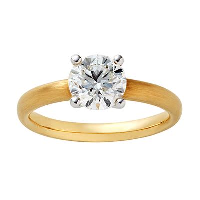 SWAN 婚約指輪 アンティーク ストレート イエローゴールド
