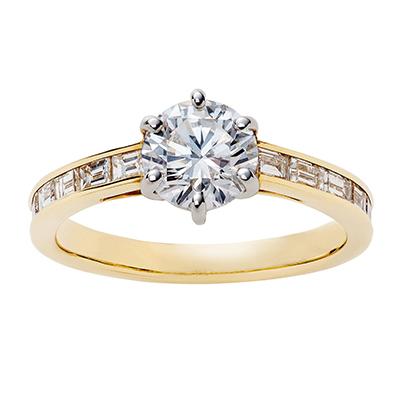 SWAN 婚約指輪 エレガント アンティーク ストレート イエローゴールド