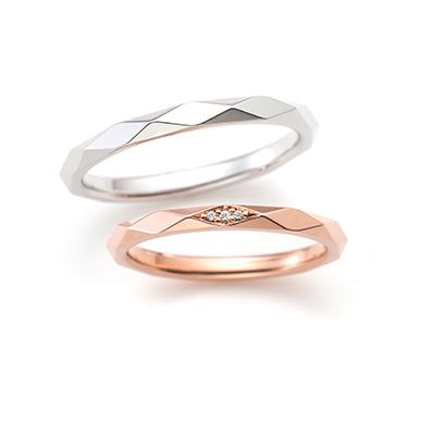 QUARTET 結婚指輪 アンティーク キュート 個性派 ストレート プラチナ ピンクゴールド