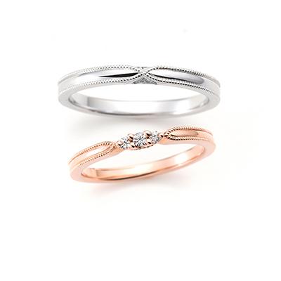ACOUSTIC LOVE 結婚指輪 アンティーク キュート ストレート プラチナ ピンクゴールド