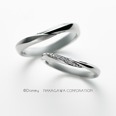 charm 結婚指輪 シンプル エレガント キュート V字(ウェーブ) プラチナ