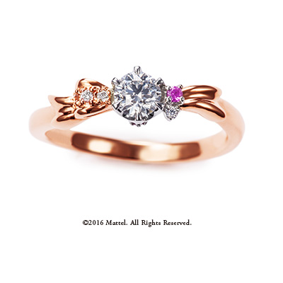 Present 婚約指輪 キュート 個性派 S字(ウェーブ) ピンクゴールド