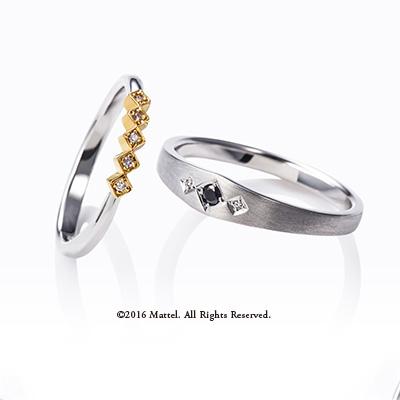 Present 結婚指輪 エレガント キュート 個性派 S字(ウェーブ) プラチナ イエローゴールド コンビ