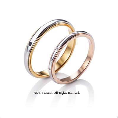 Sparkle 結婚指輪 シンプル エレガント 個性派 ストレート プラチナ イエローゴールド ピンクゴールド コンビ