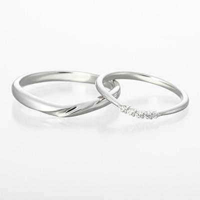 cita 結婚指輪 シンプル キュート V字(ウェーブ) プラチナ