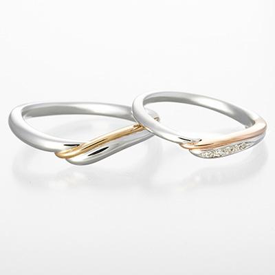 toi et moi 結婚指輪 エレガント キュート S字(ウェーブ) プラチナ イエローゴールド ピンクゴールド コンビ