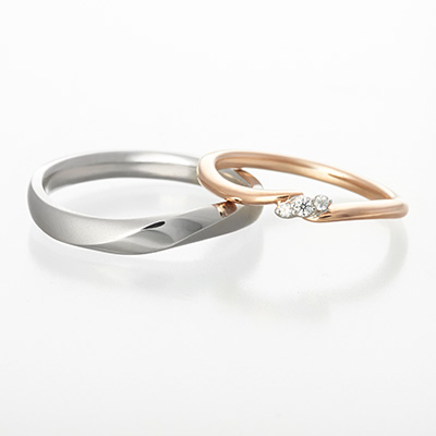 bouquet 結婚指輪 シンプル キュート S字(ウェーブ) プラチナ ピンクゴールド