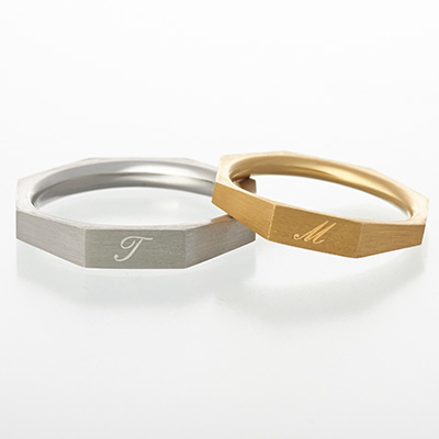 primole 結婚指輪 シンプル アンティーク 個性派 ストレート プラチナ イエローゴールド