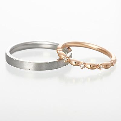 fleurage 結婚指輪 シンプル キュート 個性派 ストレート プラチナ ピンクゴールド