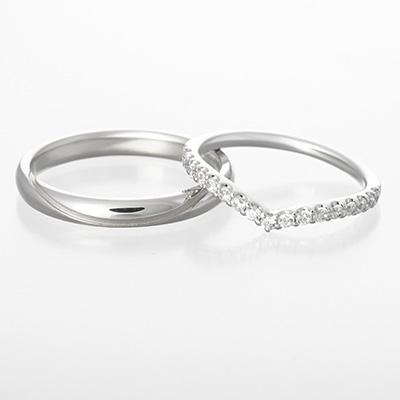 lible 結婚指輪 エレガント 個性派 V字(ウェーブ) プラチナ