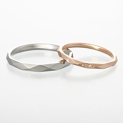 luz 結婚指輪 シンプル アンティーク 個性派 ストレート プラチナ ピンクゴールド