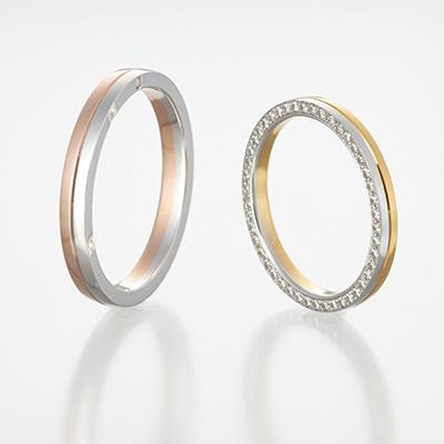 vita 結婚指輪 シンプル エレガント 個性派 ストレート プラチナ イエローゴールド ピンクゴールド コンビ