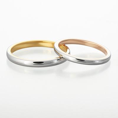 mite 結婚指輪 シンプル 個性派 ストレート プラチナ イエローゴールド コンビ