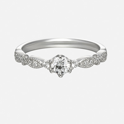 grand merci 婚約指輪 アンティーク キュート 個性派 ストレート プラチナ