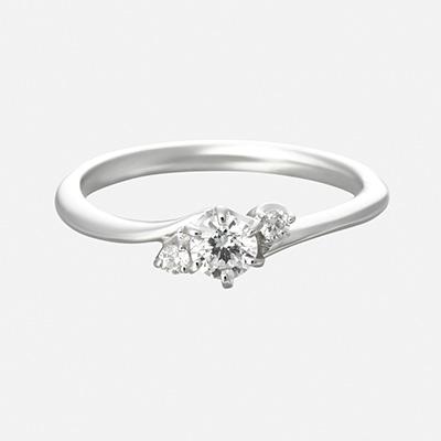 bouquet 婚約指輪 シンプル キュート S字(ウェーブ) プラチナ