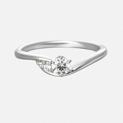toi et moi 婚約指輪 エレガント キュート V字(ウェーブ) プラチナ