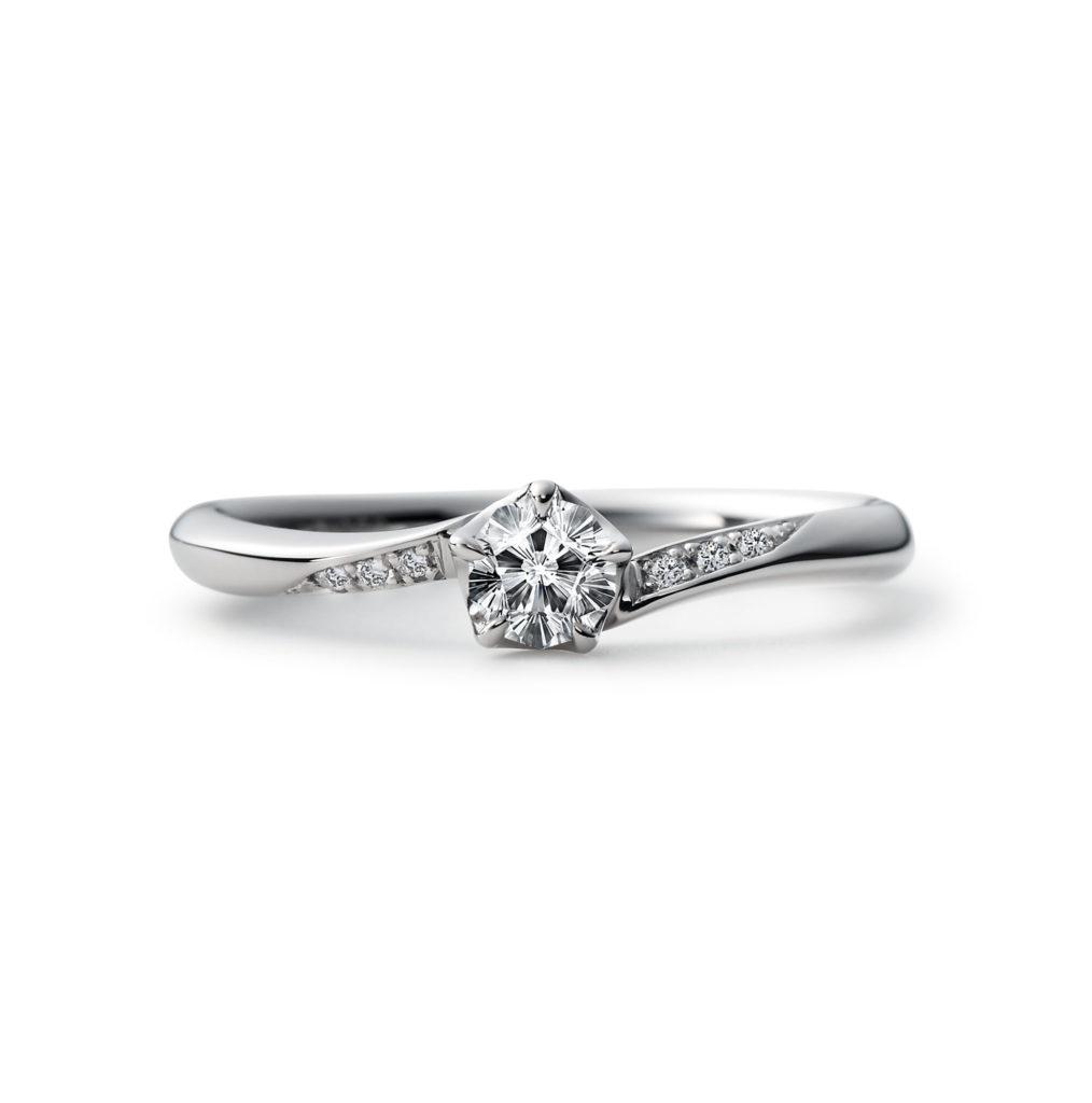 YUIZAKURA 婚約指輪 キュート 個性派 S字(ウェーブ) プラチナ