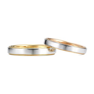 Tsukihi 結婚指輪 シンプル 個性派 ストレート プラチナ イエローゴールド ピンクゴールド コンビ