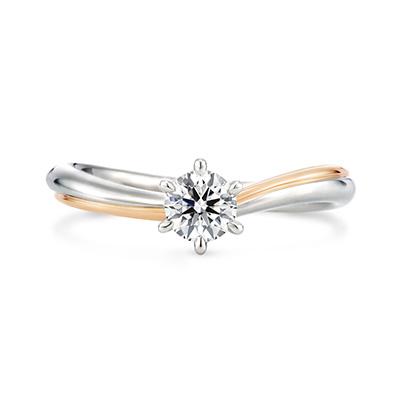 luminare 婚約指輪 シンプル キュート S字(ウェーブ) プラチナ ピンクゴールド コンビ