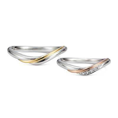 luminare 結婚指輪 アンティーク 個性派 V字(ウェーブ) コンビ
