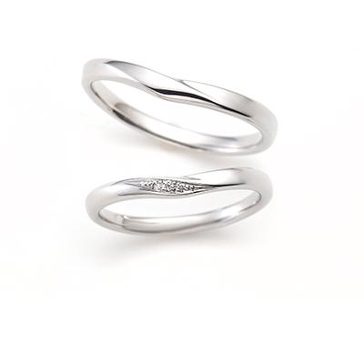 Ecru 結婚指輪 シンプル V字(ウェーブ) プラチナ