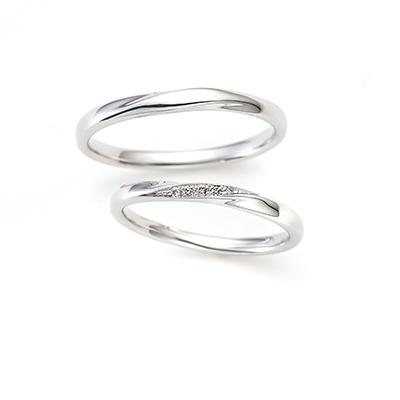 Meteor 結婚指輪 シンプル エレガント S字(ウェーブ) プラチナ