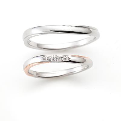 CHERISH 結婚指輪 アンティーク キュート S字(ウェーブ) プラチナ ピンクゴールド コンビ