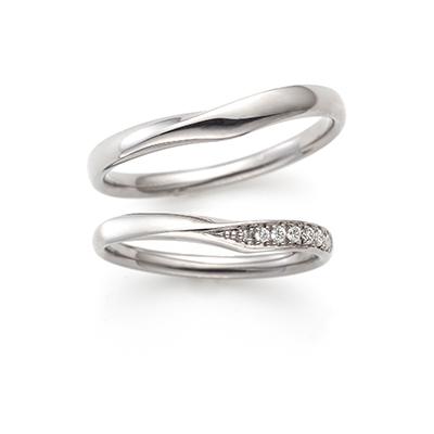 Sparkle 結婚指輪 シンプル S字(ウェーブ) エタニティ プラチナ