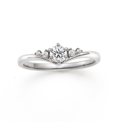 Sparkle 婚約指輪 シンプル エレガント V字(ウェーブ) プラチナ