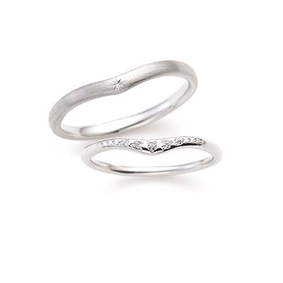 Twinkle 結婚指輪 アンティーク V字(ウェーブ) プラチナ