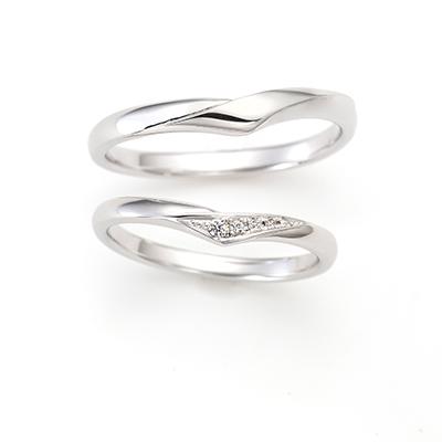 LILY DEW 結婚指輪 シンプル 個性派 V字(ウェーブ) プラチナ