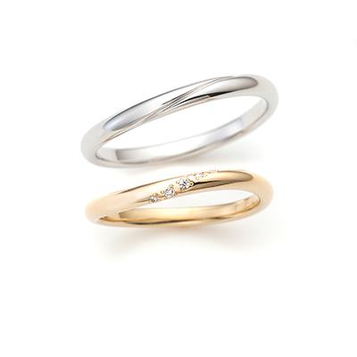 Memory 結婚指輪 アンティーク S字(ウェーブ) プラチナ イエローゴールド