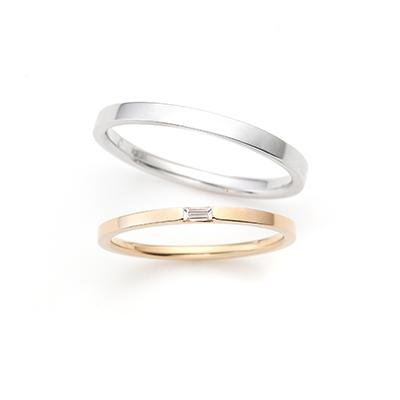 Corona 結婚指輪 シンプル ストレート プラチナ イエローゴールド
