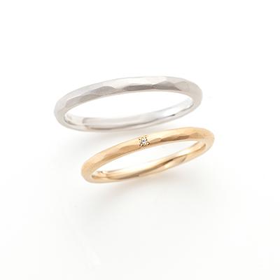 Prism 結婚指輪 シンプル アンティーク ストレート プラチナ イエローゴールド
