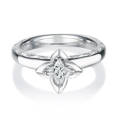 HRGOR8003 婚約指輪 シンプル 個性派 ストレート 幅広 プラチナ