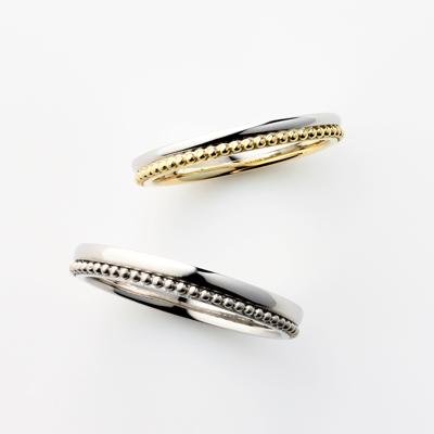 FRUTO 結婚指輪 シンプル アンティーク 個性派 ストレート プラチナ イエローゴールド コンビ