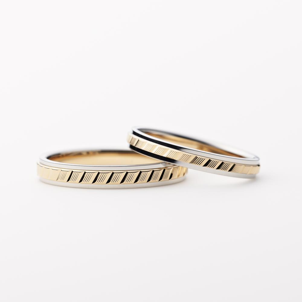 REYON 結婚指輪 シンプル アンティーク 個性派 ストレート プラチナ ピンクゴールド コンビ