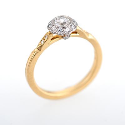 hum 婚約指輪 シンプル アンティーク ストレート コンビ