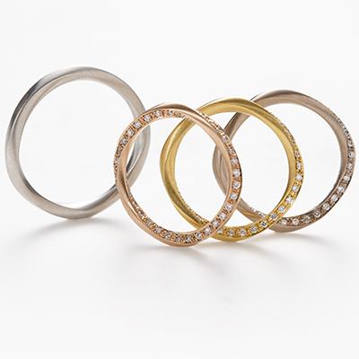 hum 結婚指輪 シンプル アンティーク 個性派 エタニティ プラチナ イエローゴールド ホワイトゴールド ピンクゴールド