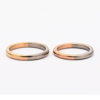 tmh. ティーエムエイチ.  結婚指輪 シンプル アンティーク 個性派 ストレート イエローゴールド ピンクゴールド コンビ